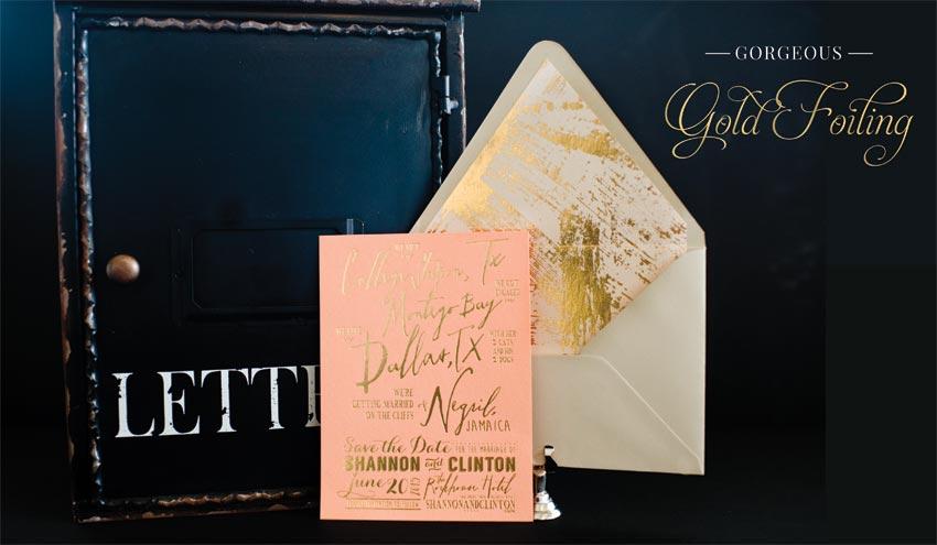 cottonpaperie letterpress gold foil