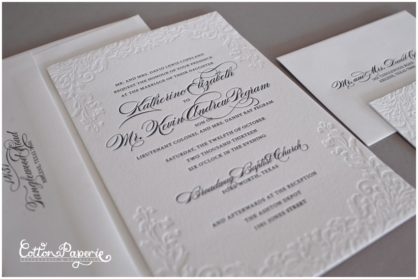 cottonpaperie letterpress wedding invitations with blind deboss