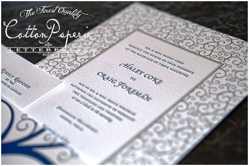 cottonpaperie letterpress wedding invitations with metallic envelopes and folios