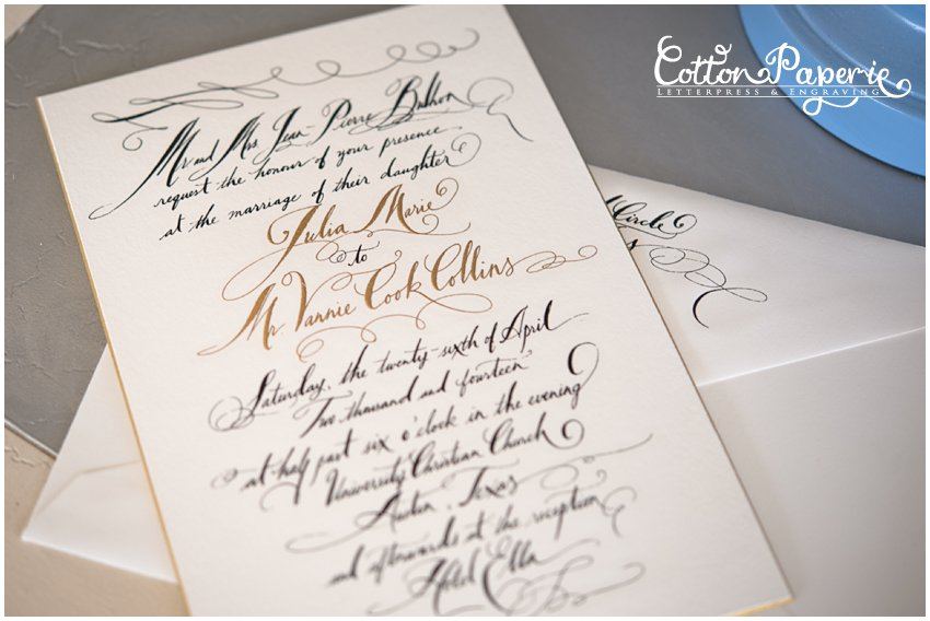 cottonpaperie letterpress blind gold foil