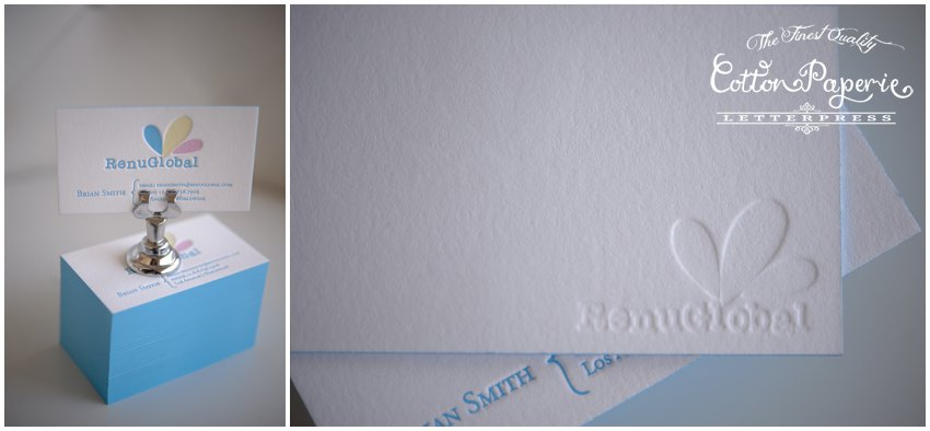 cottonpaperie letterpress business cards in three colors with a blind impression